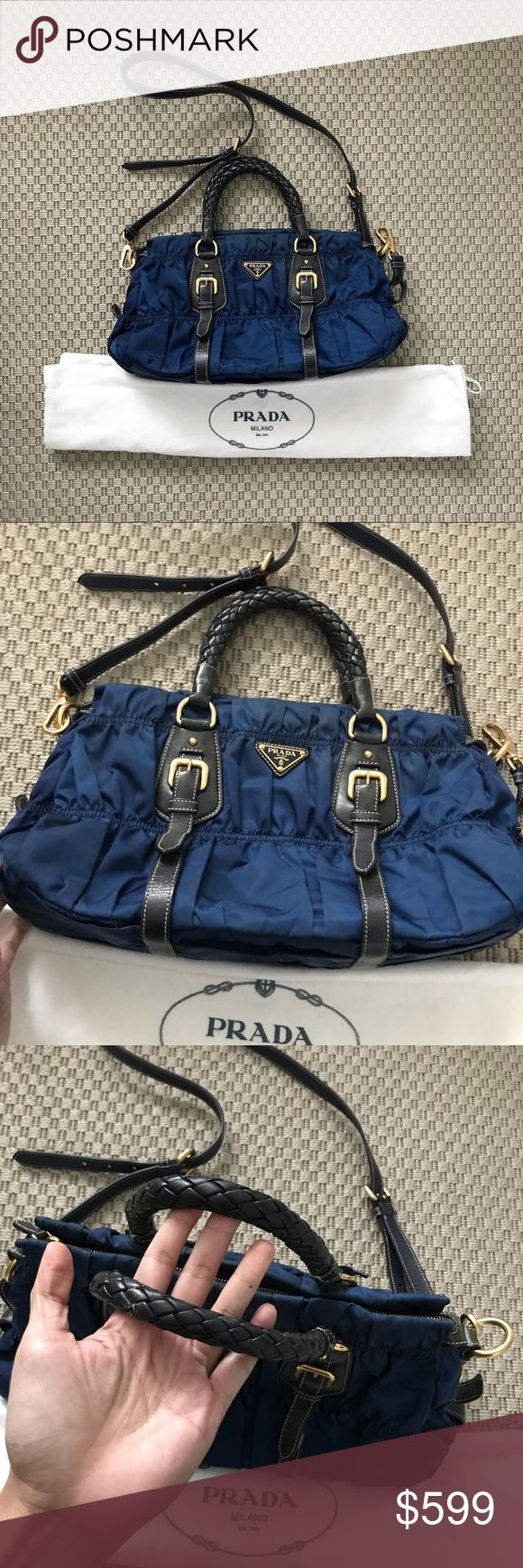 "Prada Tessuto Gaufre Hi  Selling my prada tessuto Gaufre Blue Color  Used but in great condition Clean in and out Smoke free and pet free home 14""x9""  Guaranteed Auth  Dustbag and Strap Thanks for looking! Prada Bags Crossbody Bags"