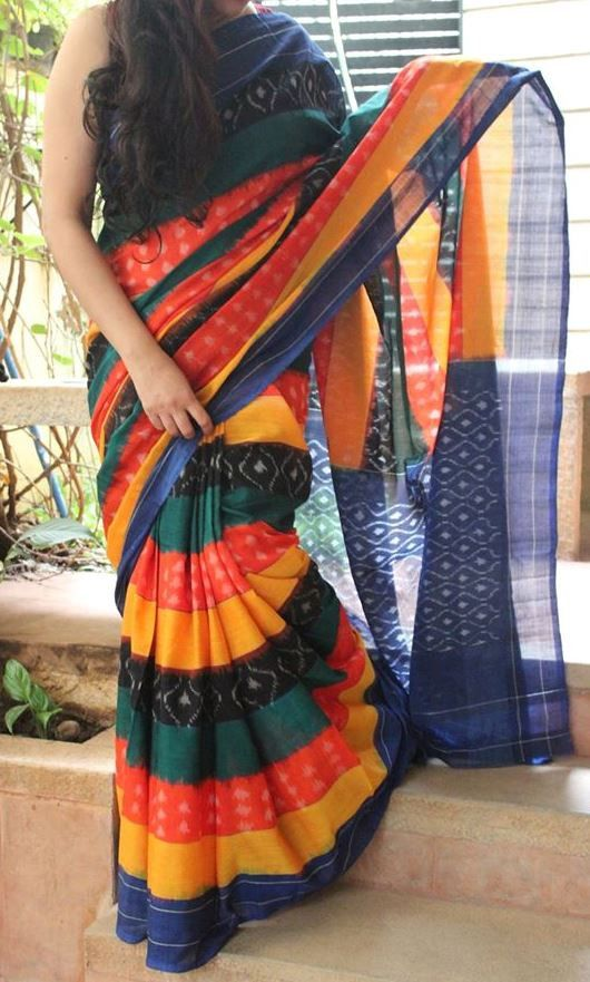 Beauteous Handwoven Pure Pochampally Ikkat Saree with Array of Colours - NEW