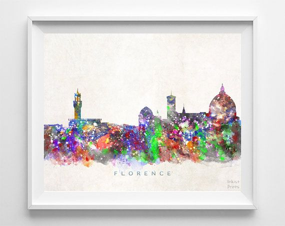 Florence Skyline Print Italy Watercolor Florence by InkistPrints