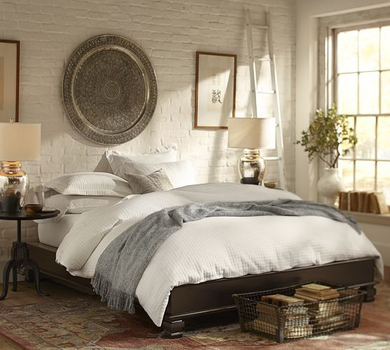 Pottery Barn   Decorative Metal Disc   Pictured Above A Bed