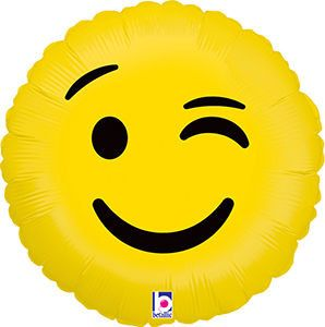 EMOJI WINK BALLOON  Lets get this party started with this awesome emoji balloon....  Balloon will arrive flat ready for inflating. Simply take it to your local party store to have it inflated with helium.  Measures: 18  *************************CHECK OUT OUR OTHER EMOJI BALLOONS**********************  https://www.etsy.com/listing/260857912/emoji-balloon-emoji-smiley-balloonemoji?ref=listing-shop-header-0  https://www.etsy.com/listing/260747709...