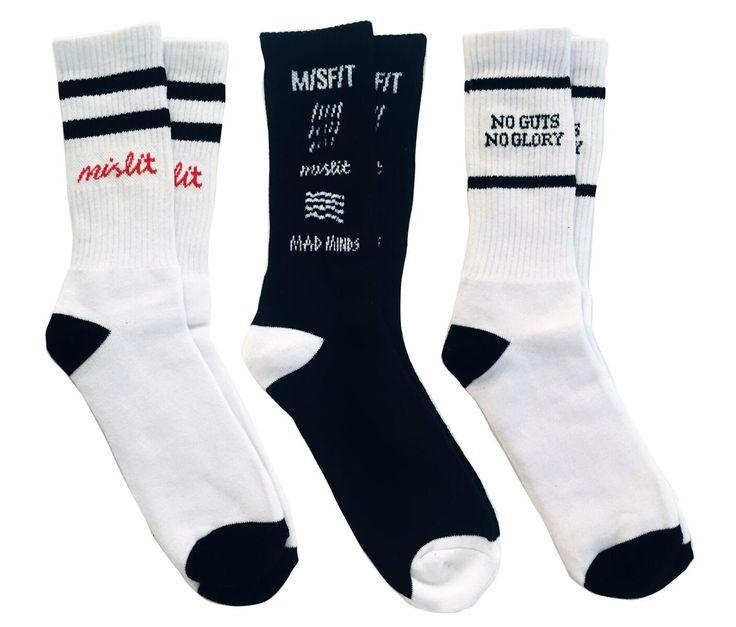 MISFIT APPAREL - Life Socks 3 Pack - White/Black