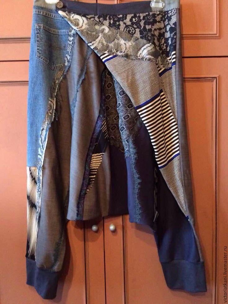 """Купить Бохо-брюки с запахом """"Свободные"""" - серебряный, абстрактный, брюки, брюки афгани, брюки женские"""