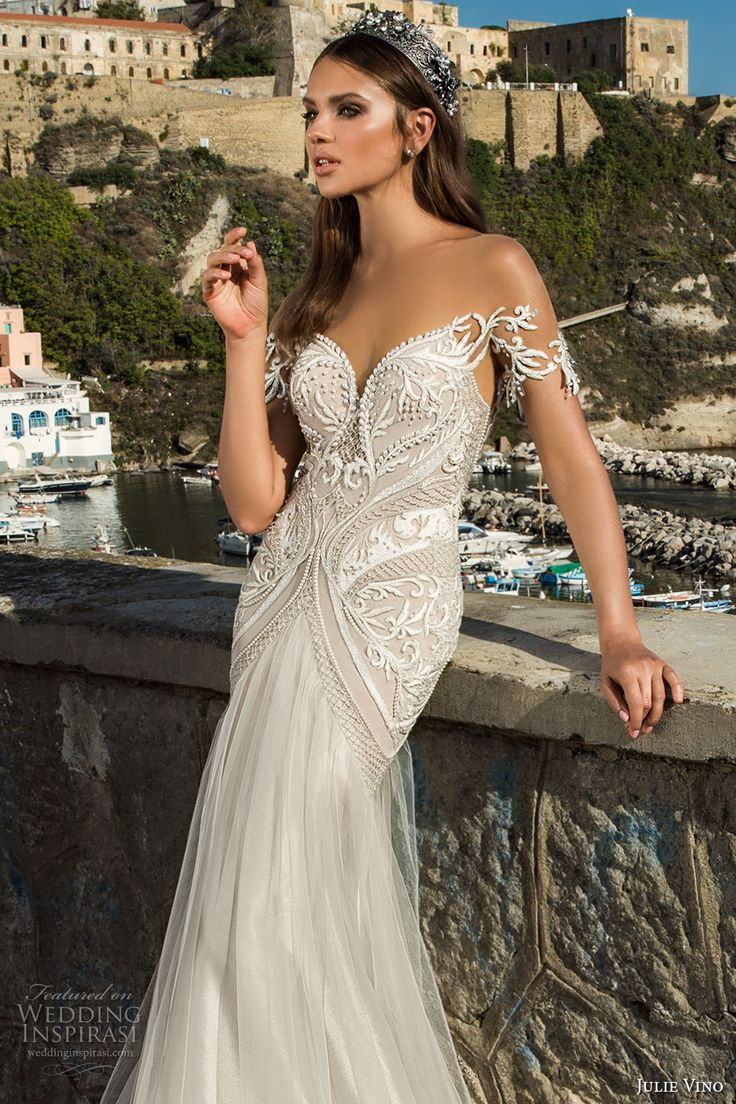 julie vino fall 2017 bridal off the shoulders sweetheart neckline heavily embellished bodice elegant romantic sheath wedding dress low back chapel train (1213) zv