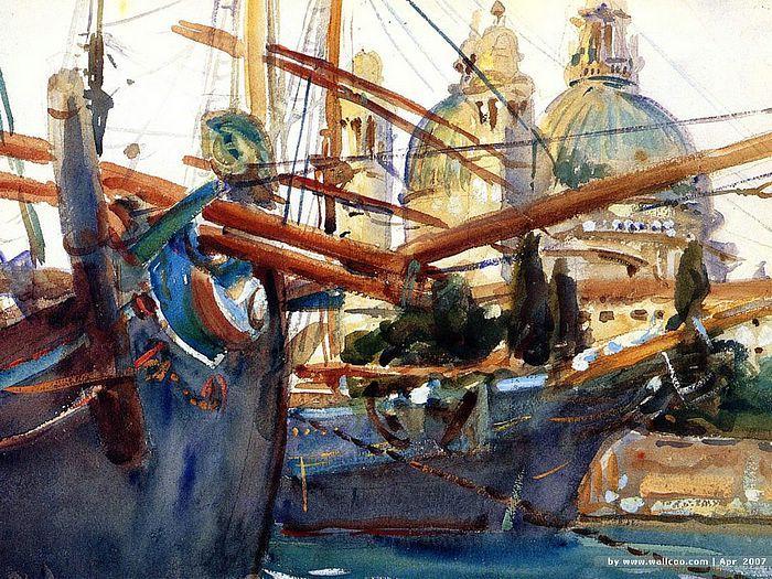 "John Singer Sargent, watercolor, ""Behind the Salute"""