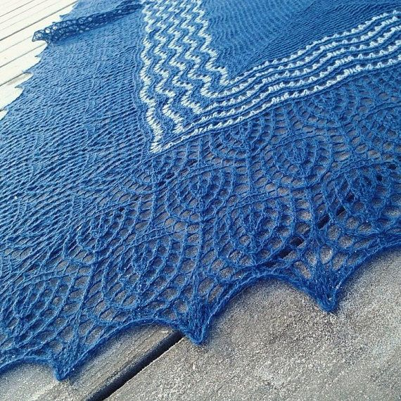 Blue Shawl Wool Cashmere blend yarn. Hand knitted items Women
