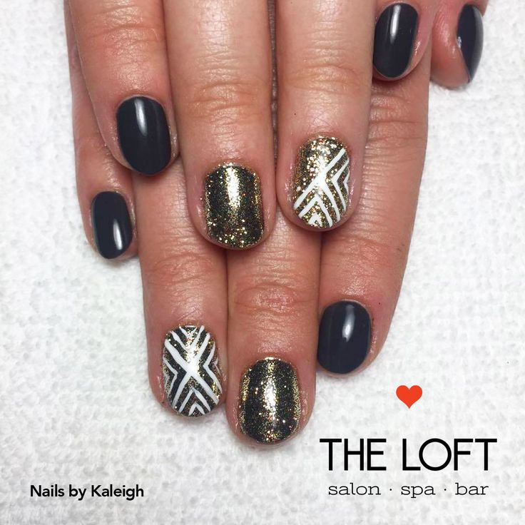 Black, gold and white manicure with sparkles and geometric shapes by Kaleigh at The Loft in Winnipeg.