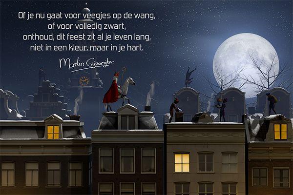 Sinterklaas: Of je nu gaat voor veegjes op de wang, of voor volledig zwart, onthoud dit feest zit al je leven lang, niet in een kleur, maar in je hart.