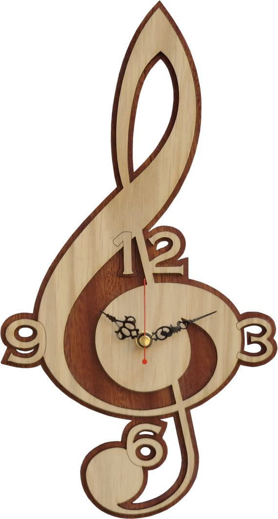 Treble Clef Clock in Wood  Music Clock