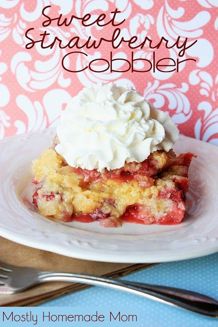 Sweet Strawberry Cobbler - baked strawberries topped with a sweet Bisquick cobbler crust and topped with real whipped cream, amazing!