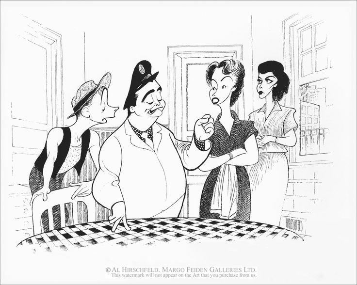 "Al Hirschfeld ~ Art Carney, Jackie Gleason, Audrey Meadows, and Joyce Randolph in ""The Honeymooners"" - courtesy of The Margo Feiden Galleries"