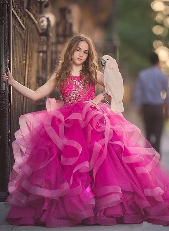 Fuchsia Puffy Quinceanera Dress Pageant Applique Wedding Party Bridal Prom Gowns