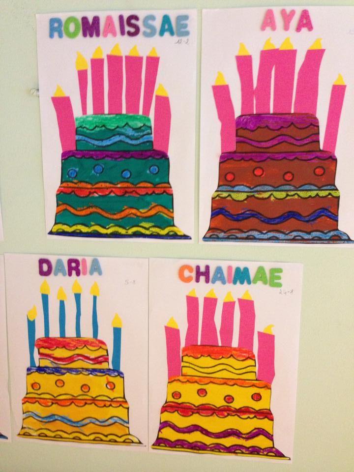 Verjaardagstaarten knutselen. Wanneer de kleuter jarig is mag de taart mee naar huis !