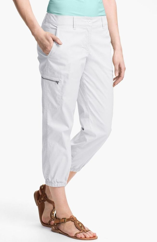 New Eileen Fisher White Cropped Cargo Pants, Petite Size PP #EileenFisher #CroppedCargoPants