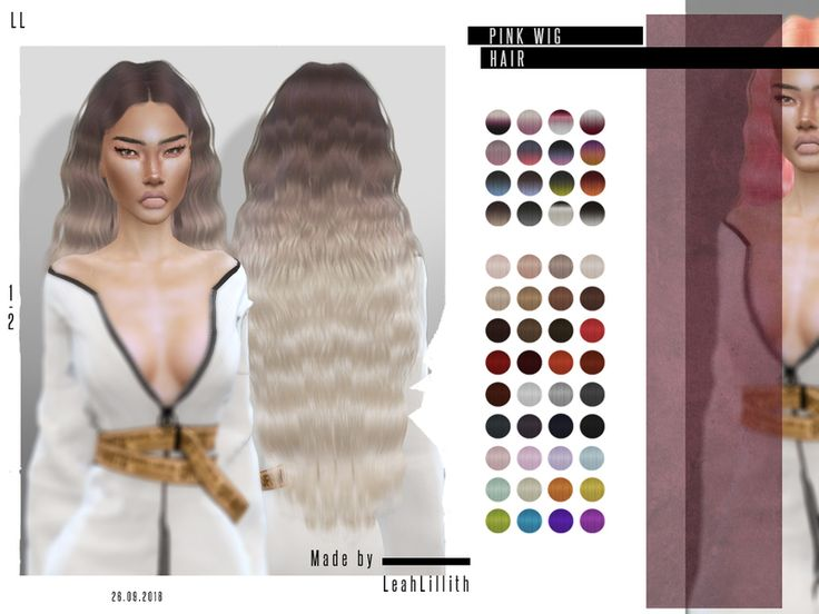 The Sims Resource: Pink Wig Hair by LeahLillith