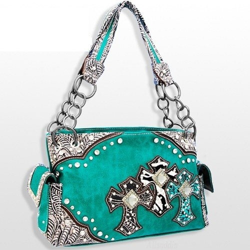 Turquoise Western Style Triple Cross with Diamonds Purse Western Cowgirl Style