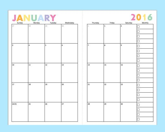 Planner Calendar Inserts : Printable dated monthly planner for a planners junior