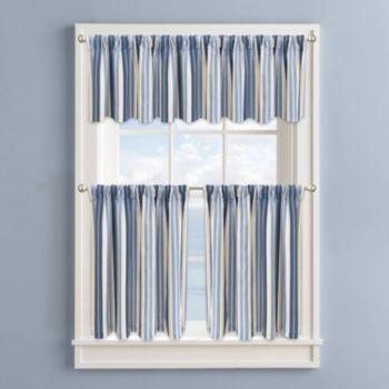 Colordrift Nautical Stripe Tier Kitchen Curtains