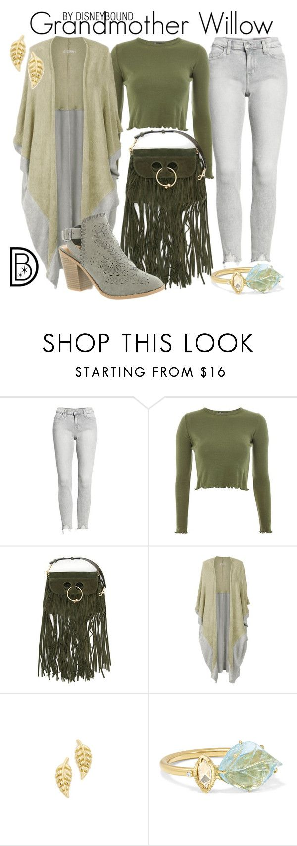 """""""Grandmother Willow"""" by leslieakay ❤ liked on Polyvore featuring Current/Elliott, Topshop, J.W. Anderson, Lovestrength, Jennifer Meyer Jewelry, BROOKE GREGSON, Sugar, disney, disneybound and disneycharacter"""
