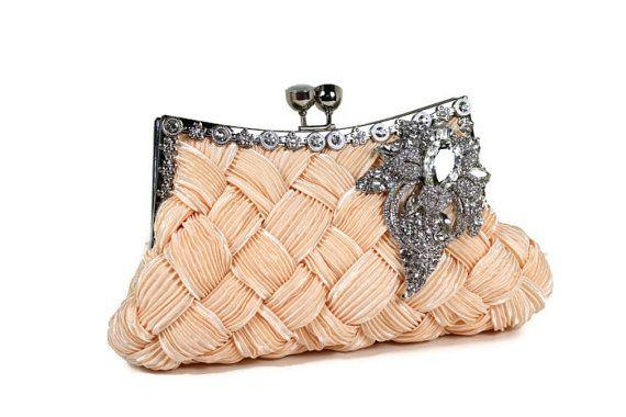 Bridal Clutch Soft Peach Bridal Clutch by WhiteAisleBoutique