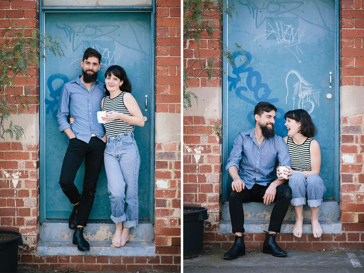 Relaxed couples shot, just hanging out on the door step with a cup of coffee. Perfect for a couple just about to open a cafe!