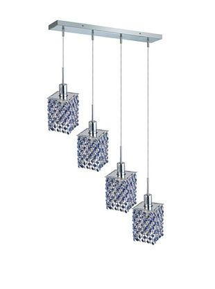 71% OFF Elegant Lighting Mini Crystal Collection 4-Light Square Pendant Lamp, Sapphire