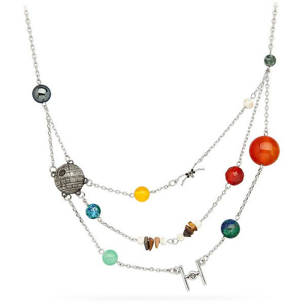 Star Wars Galactic Necklace ❤ liked on Polyvore featuring jewelry, necklaces, galaxy necklace, solar system necklace, cosmic jewelry, planet necklace and galaxy jewelry