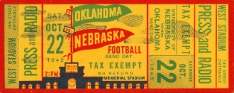 Bud Wilkinson's Oklahoma team traveled to Lincoln and won 48-0. Wilkinson's team went undefeated in 1949. http://www.shop.47straightposters.com/Oklahoma-Football-Tickets-OU-OSU-Tulsa-Tickets_c17.htm