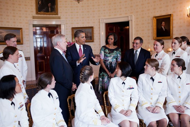President Barack Obama and First Lady Michelle Obama greet the U.S. Navy's first contingent of women submariners to be assigned to the Navy's operational submarine force, in the Blue Room of the White House, May 28, 2012. The 24 women were accepted into the Navy's nuclear submarine program after completing an intensive training program and serve on ballistic and guided missile submarines throughout the Navy. Also attending were ADM Mark Ferguson, left, Navy Secretary Ray Mabus and Defense…