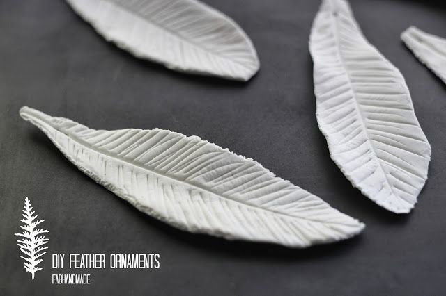 Feather Christmas ornaments using air dry clay @Crayola