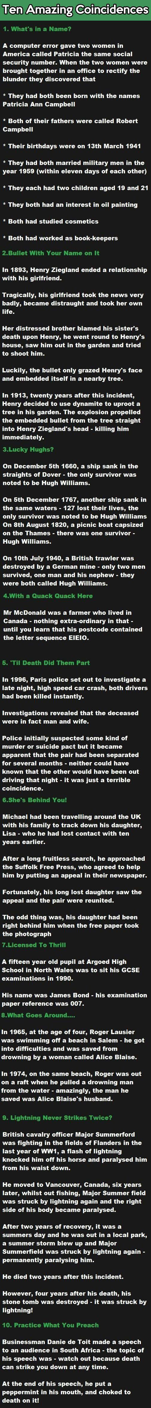 Ten Amazing Coincidences…