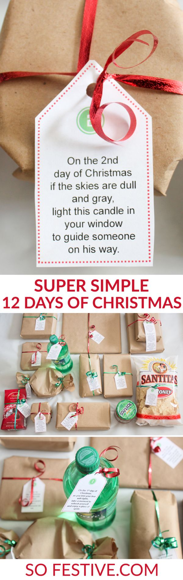 Idea .... 12-days-of-christmas but wrap like the song with a partridge on the paper maids milking etc