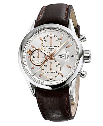 RAYMOND WEIL Watch, Men's Swiss Automatic Chronograph Freelancer Brown Leather Strap 42mm 7730-STC-65025 - Men's Watches - Jewelry & Watches - Macy's
