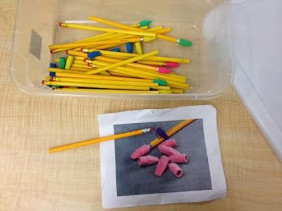 simple work task box: putting erasers on pencils, great for fine motor