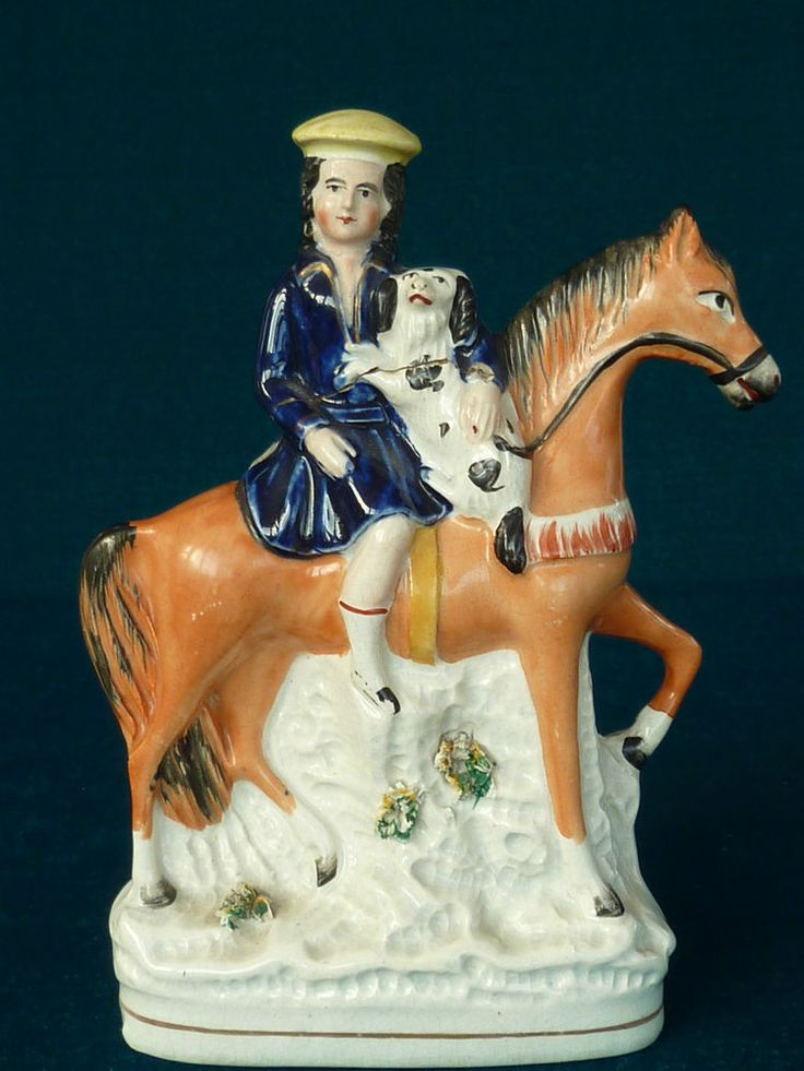 Victorian Staffordshire Boy With Dog on a Horse Figure