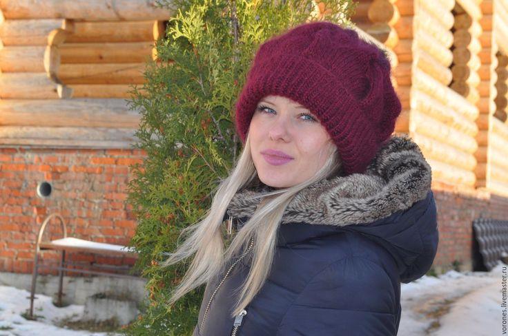 Купить Теплая шапочка - темно- бордовая - бордовый, орнамент, черный, мех натуральный, мех лисы