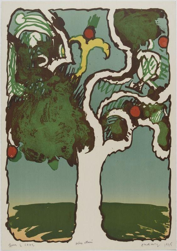 Pierre Alechinsky (Belg. 1927- ), Arbre allumé, 1975, lithographie, 76 x 53 cm, Paris, Centre d'art moderne Georges-Pompidou