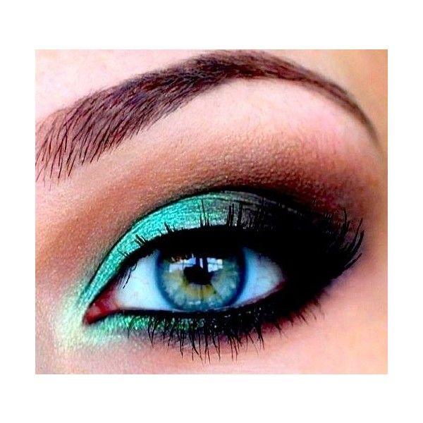 Make-up / teal smokey eye found on Polyvore
