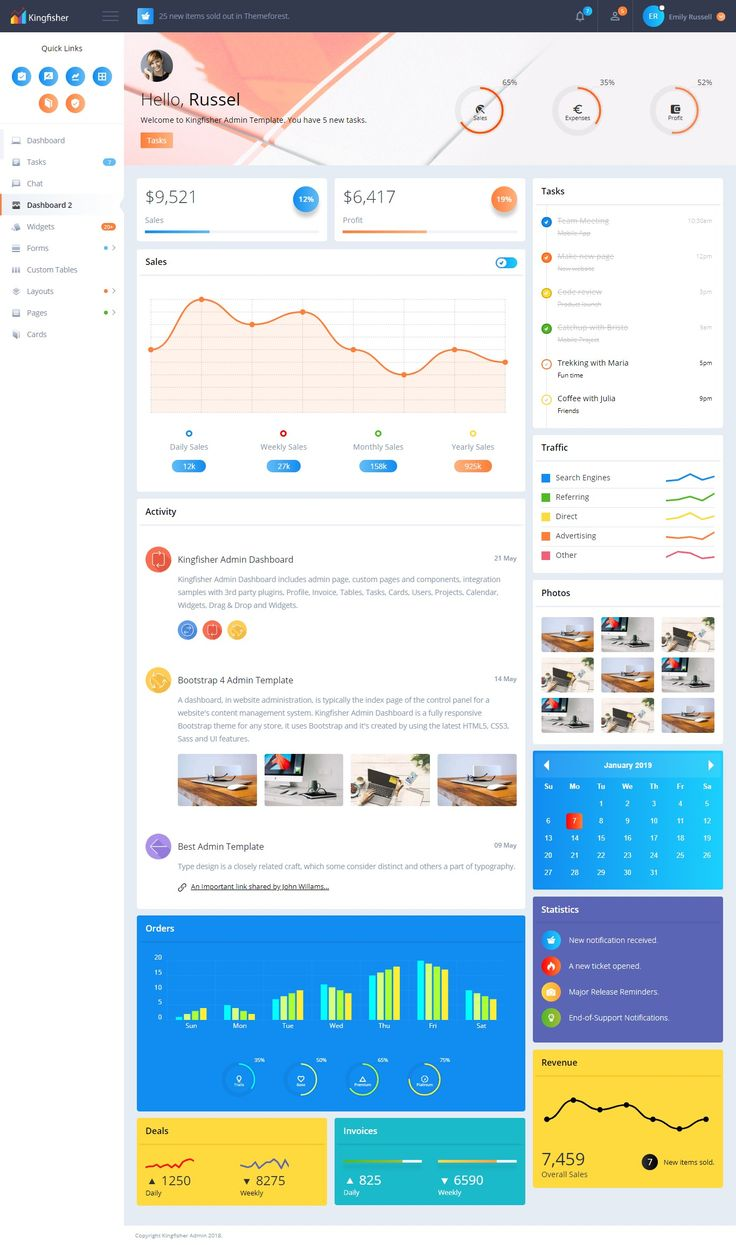 Responsive Bootstrap 4 Admin Template It is fully