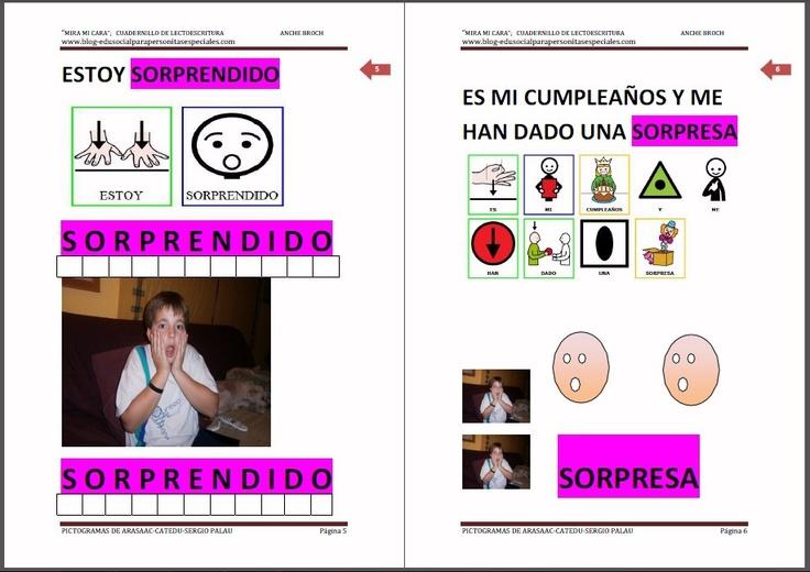 MATERIALES - Cuadernillo de lectoescritura: Las Emociones Dos cuadernillos de lectoescritura (mayúscula y minúscula) con los que trabajamos las emociones: contento (alegría), triste ( llorar), enfadado, sorprendido, asustado ( miedo)... Es importante que reconozcan las emociones en los otros. Los cuadernillos tienen un doble refuerzo visual con pictogramas e imágenes reales. http://arasaac.org/materiales.php?id_material=897