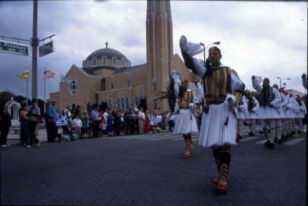 Evrones Greek Royal Guards in the Greek Independence Day parade - Tarpon Springs, Florida.
