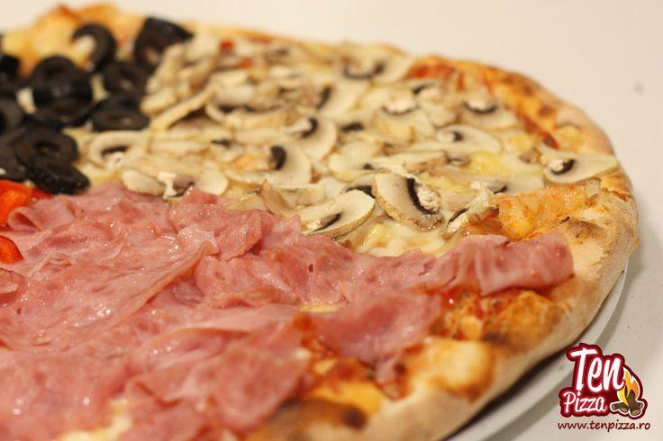 Pizza Quatro Stagioni - Salsa di pomodoro, mozzarella, sunca, ciuperci proaspete, masline negre feliate, ardei gras
