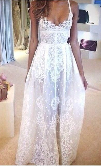 2016 Flowy Full Lace Sexy Backless Wedding Dresses Spaghetti Strap Applique Floor Length Romantic Real Sheer Beach Bridal Gowns A Line Dresses Wedding A Line Wedding Dresses Cheap From Nomicbridal, $90.46| Dhgate.Com