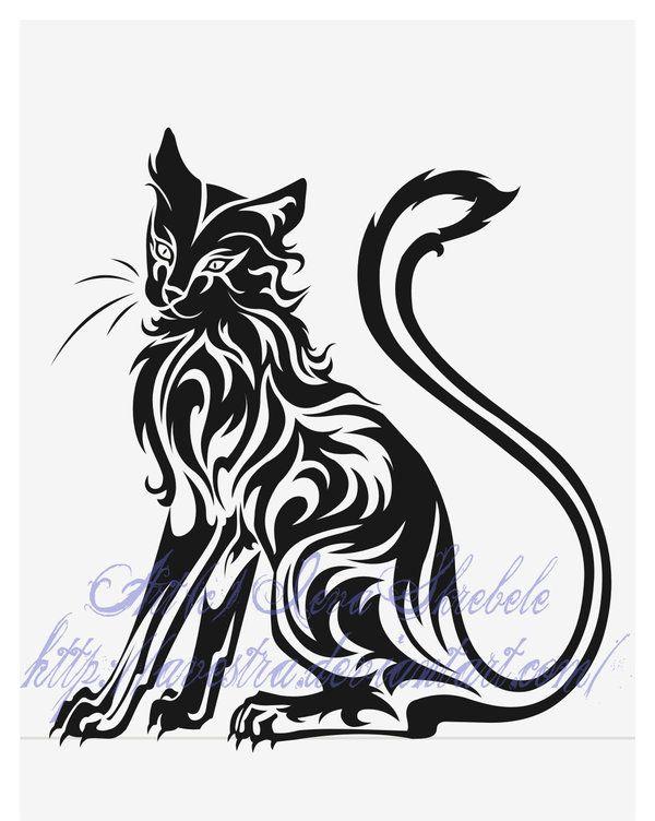 Sitting Cat Tribal Tattoo by Avestra