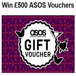 How To Win £500 ASOS Vouchers - Looking for new fashion? Look no further than ASOS. Head to FreeStuff and sign up now in order to enter to win £500 worth of ASOS vouchers. FreeStuff is currently giving away £500 ASOS vouchers. FreeStuff is the UK's number 1 competition and freebie site.  ASOS.com is a British online fashion and beauty store. You can shop over 850 brands and over 60,000 products at ASOS. You'll discover the latest clothes and fashion for both genders.