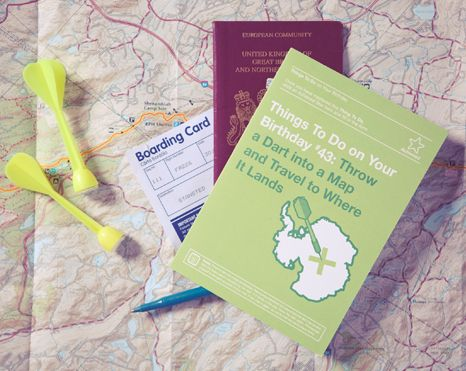 Things To Do Greetings Cards –Throw a Dart into a Map and Travel to Where it Lands www.101thingstodo.co.uk (Birthday) via Richard Horne (elhorno.co.uk)