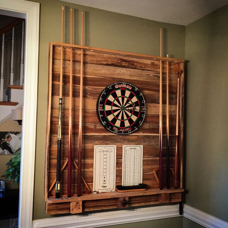 Dart Board Pool Cue Rack