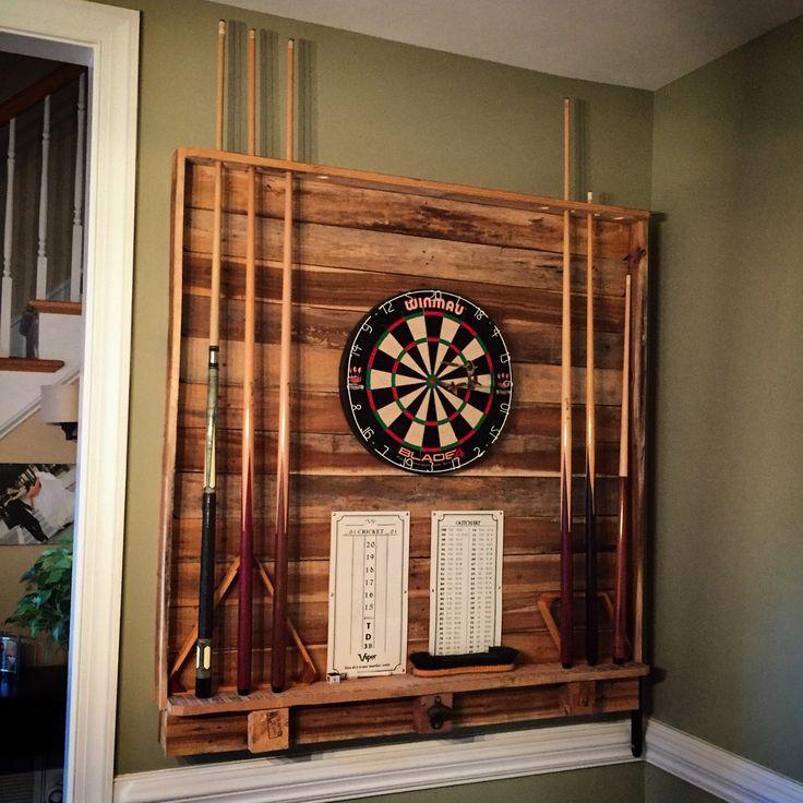 Dart Board Pool Cue Rack