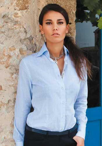 Allegra Light Blue Blouse Fashion Shirts Women Light Blue Blouse