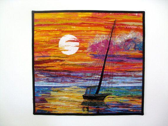 Fiber Art Quilt Sunset Seascape Sailboat Wall by SallyManke